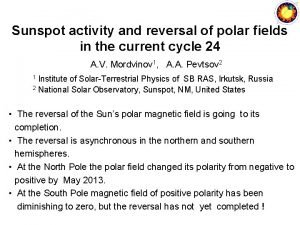 Sunspot activity and reversal of polar fields in