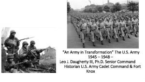 An Army in Transformation The U S Army