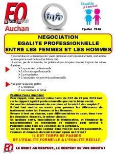 Auchan 7 juillet 2016 NEGOCIATION EGALITE PROFESSIONNELLE ENTRE