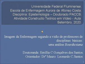 Universidade Federal Fluminense Escola de Enfermagem Aurora de