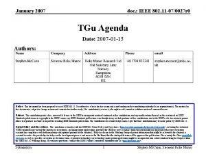 January 2007 doc IEEE 802 11 070027 r