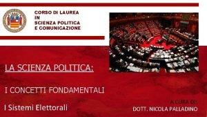 CORSO DI LAUREA IN SCIENZA POLITICA E COMUNICAZIONE