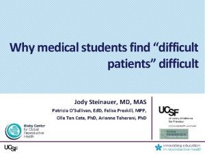 Why medical students find difficult patients difficult Jody