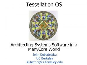 Tessellation OS Architecting Systems Software in a Many