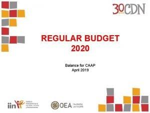 REGULAR BUDGET 2020 Balance for CAAP April 2019