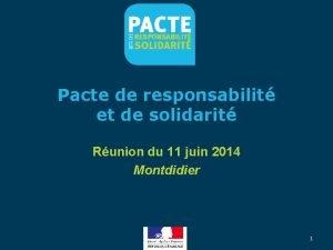 Pacte de responsabilit et de solidarit Runion du