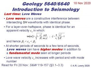 Geology 56406640 18 Nov 2020 Introduction to Seismology