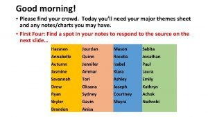 Good morning Please find your crowd Today youll