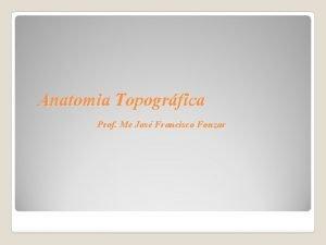 Anatomia Topogrfica Prof Me Jos Francisco Fonzar Anatomia