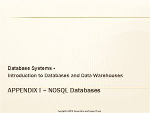 Database Systems Introduction to Databases and Data Warehouses