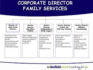 CORPORATE DIRECTOR FAMILY SERVICES Director of Adult Social