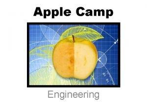 Apple Camp Engineering How can engineering help us