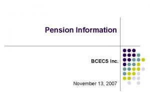 Pension Information Committee July 27 2006 Pension Information