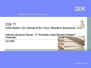 IBM Information Management IDS 11 Information On Demand