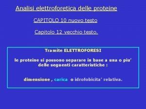 Analisi elettroforetica delle proteine CAPITOLO 10 nuovo testo