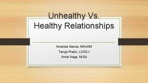 Unhealthy Vs Healthy Relationships Amanda Garcia MAc OM