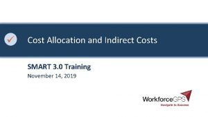 Cost Allocation and Indirect Costs SMART 3 0