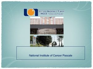 National Institute of Cancer Pascale National Institute of