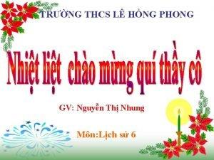 TRNG THCS L HNG PHONG GV Nguyn Th
