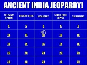 ANCIENT INDIA JEOPARDY THE CASTE SYSTEM ANCIENT CITIES