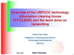 Overview of the UNFCCC technology information clearing house