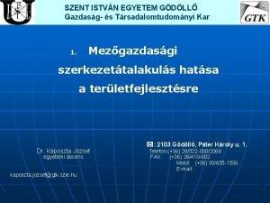 SZENT ISTVN EGYETEM GDLL Gazdasg s Trsadalomtudomnyi Kar