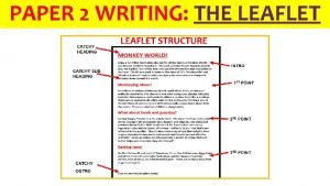 PAPER 2 WRITING THE LEAFLET 1 Letter WRITING