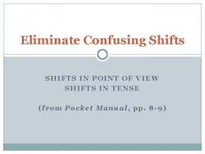 Eliminate Confusing Shifts SHIFTS IN POINT OF VIEW