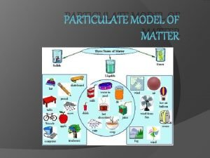 PARTICULATE MODEL OF MATTER What is matter made