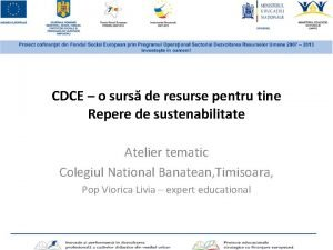CDCE o surs de resurse pentru tine Repere