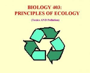 BIOLOGY 403 PRINCIPLES OF ECOLOGY Toxics AND Pollution