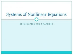 Systems of Nonlinear Equations ELIMINATION AND GRAPHING Nonlinear