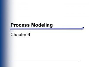 Process Modeling Chapter 6 Key Definitions A process