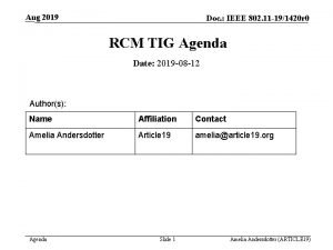 Aug 2019 Doc IEEE 802 11 191420 r