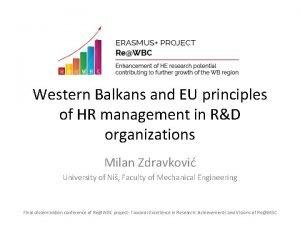 Western Balkans and EU principles of HR management