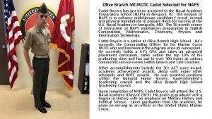 Olive Branch MCJROTC Cadet Selected for NAPS Cadet