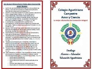 DECLOGO PEDAGGICO PARA UNA EDUCACIN AGUSTINIANA 1 PARTIR