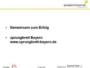 Gemeinsam zum Erfolg sprungbrett Bayern www sprungbrettbayern de