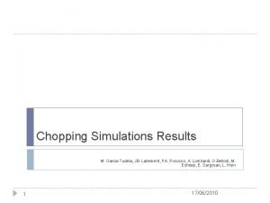 Chopping Simulations Results M Garcia Tudela JB Lallement
