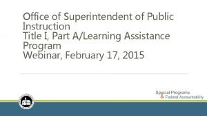 Office of Superintendent of Public Instruction Title I