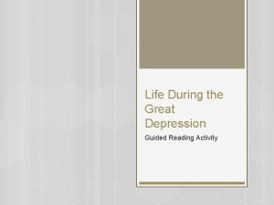 Life During the Great Depression Guided Reading Activity