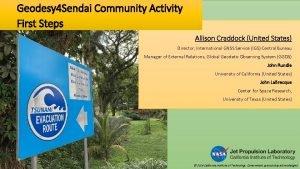 Geodesy 4 Sendai Community Activity First Steps Allison