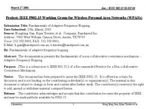 March 27 2001 doc IEEE 802 15 01187