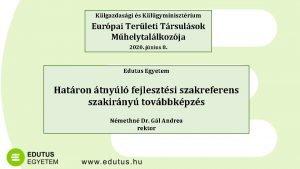 Klgazdasgi s Klgyminisztrium Eurpai Terleti Trsulsok Mhelytallkozja 2020