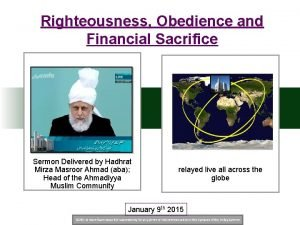 Righteousness Obedience and Financial Sacrifice Sermon Delivered by