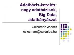 Adatbziskezels nagy adatbzisok Big Data adatbnyszat Csicsman Jzsef