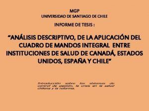 MGP UNIVERSIDAD DE SANTIAGO DE CHILE INFORME DE