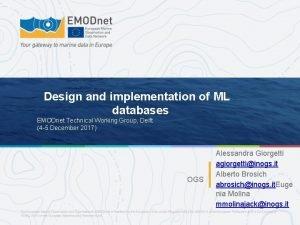 Design and implementation of ML databases EMODnet Technical