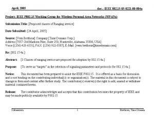 April 2005 doc IEEE 802 15 05 0221