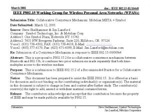 March 2001 doc IEEE 802 15 01164 r